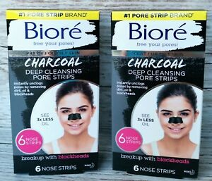 2x BIORÉ® Deep Cleansing Charcoal Nose PORE STRIPS x 6 Blackhead Removal RRP £19