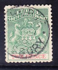 Rhodesia Británica Sudáfrica Co SG27 2d verde y rojo P121/2 V/Ery Fine Used Gato £ 19