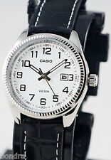 Casio LTP1302L-7BV Ladies 50M WR White Analog Watch Leather Band Dress Date New