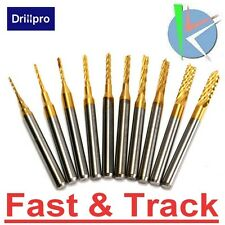 Frese PCB incisione 10pcs 0.8-3mm Titanium Coated Drill Bits Carbide Engraving