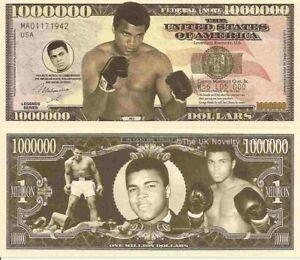Muhammad Ali Cassius Clay Commemorative Million Dollar Bills x 2 American Boxer