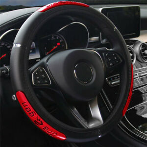 15inch PU Leather Car Steering Wheel Cover Anti-slip Protector Accessories Red