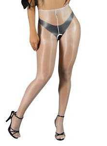 Vespa - Oil shine sheer crotchless pantyhose wet look glossy finish nylons