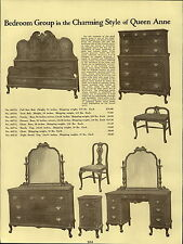 1937 PAPER AD Queen Anne Bedroom Furniture Early American Suite Margaret Shippen