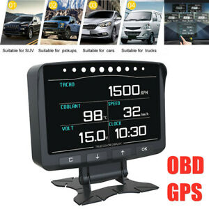12V Car OBD Smart Digital GPS Speedometer Head Up Display Overspeed MPH/KM Meter