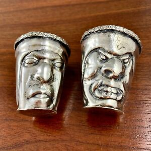 (2) SPANISH COLONIAL? SOUTH AMERICAN SILVER SHOT CUPS JIGGERS MASKS FIGURAL FACE