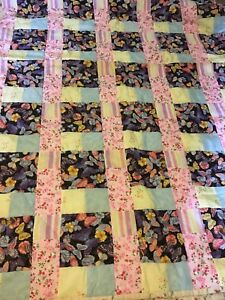 Handmade Quilt  Butterfly Floral  72 X 89