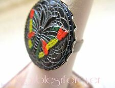 Brass Ring  Vintage Carved Black Stone w/ Painted Butterfly Sz 8 Adjustable