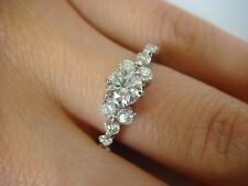1 CARAT T.W. LADIES DIAMOND ENGAGEMENT-ANNIVERSARY RING 14K WHITE GOLD SIZE 6