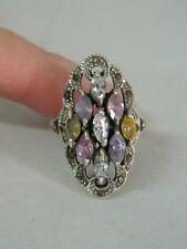 Anello in Argento e Zirconi colorati rosa azzurri vintage OMA19