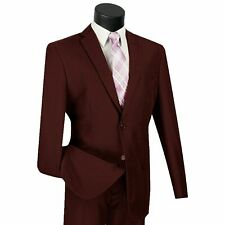 LUCCI Men's Burgundy 2 Button Slim Fit Poplin Polyester Suit NEW