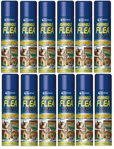 Flea Killer Spray Cat Dog Pet Animals Beds Kennels Carpets Hutches 12 X 200ml