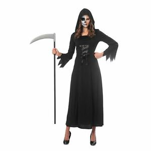 Womens Grim Reaper Costume Death Gothic Dark Ladies Halloween Fancy Dress Outfit