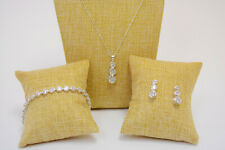 Simulated Diamond Necklace, Bracelet, Earring Set Silver Colored