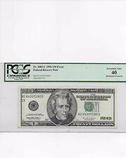Fr. 2083-C 1996 $20 Error Note Misaligned Overprint Green Ink Only Pcgs 40 Rare
