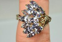 Women's Natural 4 tcw Tanzanite Cluster Ring 10k Solid Yellow Gold