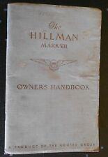 THE HILLMAN MARK VII (7) OWNERS HANDBOOK 1953 issue