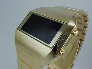 GOLD Rare Old Vintage 70s 1970s Style LED LCD DIGITAL Retro watch
