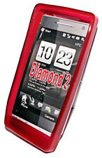 Silikon TPU Handy Cover Case Hülle Schale Kappe in Rot für HTC Touch Diamond 2