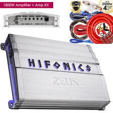 Hifonics Zeus ZG-1800.1D 1800W Mono Class D Car Audio Amplifier+ 4 Gauge Amp Kit