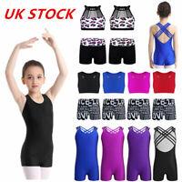 UK Kids 2PCS Gymnastics Dance Outfits Girls Crop Top+Shorts Leotards Dancewear