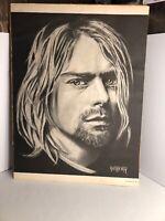 1994 Kurt Cobain Bradford John Salamon Print 18x24 Art Poster Charcoal Nirvana