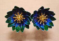 vintage crown trifari gold tone blue green enamel flower earrings