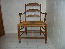 superbe fauteuil ancien en chêne assise paille