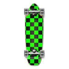 Checker Neon Green Complete Longboard Mini Cruiser Skat