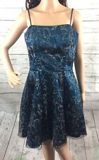 Teal Blue Party Dress Size 9/10 Sheer Black Overlay Glittery Silver Floral Bling