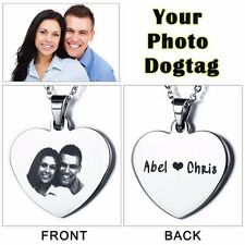 JEWELORA DIY Gifts Love Anniversary Heart Stainless Steel Photo Dog tag For Men