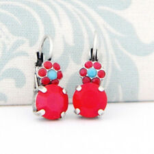 Red Coral Turquoise Flower Antique Silver Earrings with Swarovski Rhinestones