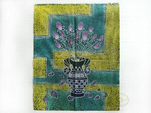 Chinese Folk Art Handmade Wall Decor Hanging Batik Tapestry - The Flowers I