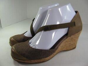 TEVA Riviera Mary Jane Wedge Cork Heel Brown Canvas Leather Women's Size 7.5