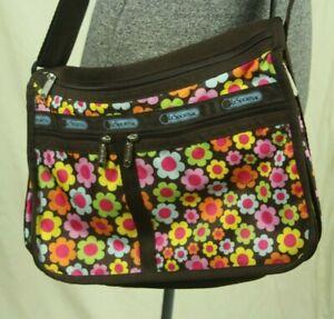 LeSportsac Crossbody Messenger Bag Flower Power Mod Floral Expandable