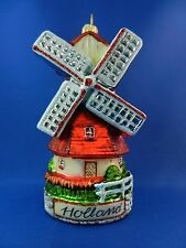 Holland Dutch Windmill Netherland Travel Glass Christmas Ornament Poland 011175