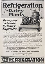 1929 AD.(XD6)~CREAMERY PACKAGE MFG. CO. CHICAGO. REFRIGERATION FOR DAIRY PLANTS