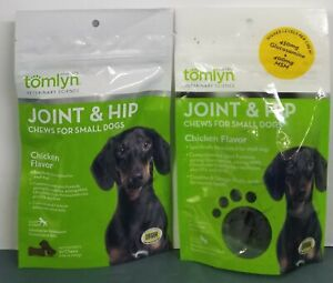 2 Tomlyn Joint & Hip Chews for Small Dogs 30 count each.  Exp. 12/2019.  Sealed.