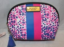 Victoria's Secret Cosmetic Make-up Bag - Blue & Pink Stripe w/ abstract dots