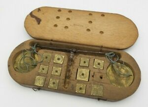 Antique 18th Century European Gold Coin Scale & Brass Weights for Specific Coins