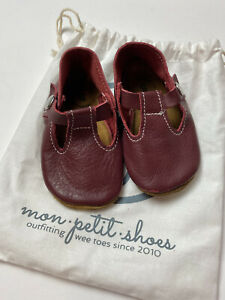 Mon Petit Shoes Sz 5 Girls USA Made Genuine Leather T Strap Walking Cranberry