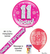 Girls 11th happy birthday party pack large badge banner + balloons age 11 today