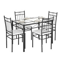 5 Piece Dining Set Glass Metal Table and 4 Chairs Kitchen Dining Room Furniture