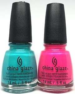 China Glaze Nail Polish Turned Up Turquoise 1007 & Purple Panic 1008 Summer Neon