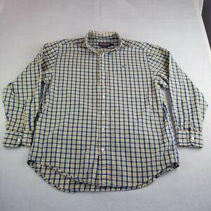 Vineyard Vines Yellow Check Dress Shirt Size L Whale Shirt 100% Cotton
