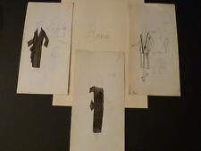 EXCEPTIONNEL 3 DESSINS ORIGINAUX COULEURS MODE HAUTE COUTURE 1920 Maison RENEE