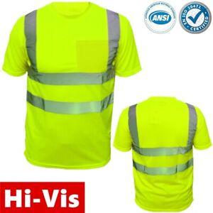 High Visibility T Shirt  Hi Vis ANSI Class 3 Reflective Lime Green Safety Shirts