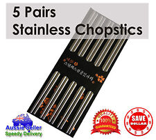5 pairs Stainless Steel Dishwasher Safe Light Chopsticks 22.5cm Quality Cutlery