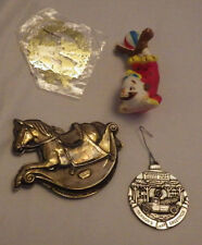 Christmas Ornaments Clown Rocking Horse Lot of 4 Decoration Holiday Ornament
