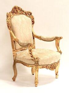 Heavily Craved Gilt Baroque/Rococo Style Armchair